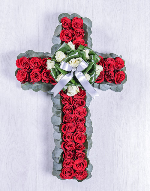 sympathy: Red and White Rose Funeral Cross!