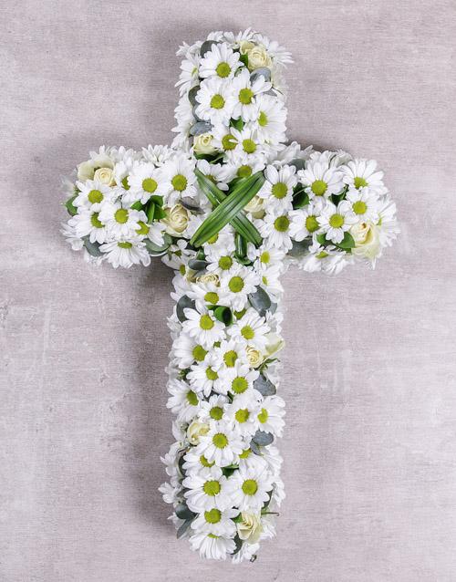 sympathy: White Funeral Cross!
