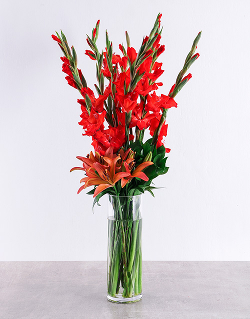 whats-new: Red Gladiolus and Asiflorum Lily Vase!