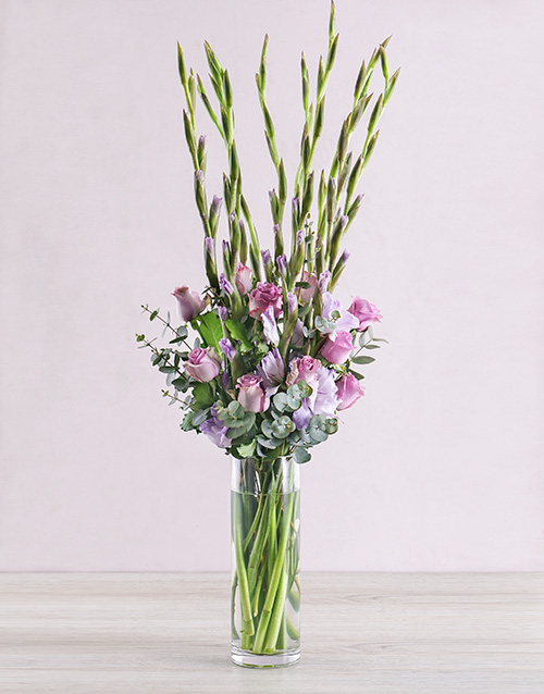 whats-new: Purple Gladioli with Roses and Gum Leaves!