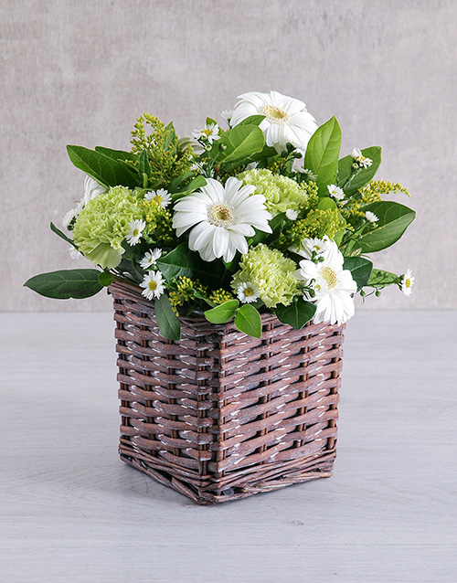 whats-new: Mixed White Flower Basket!