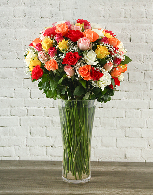 roses: 100 Mixed Roses in a Tall Glass Vase!