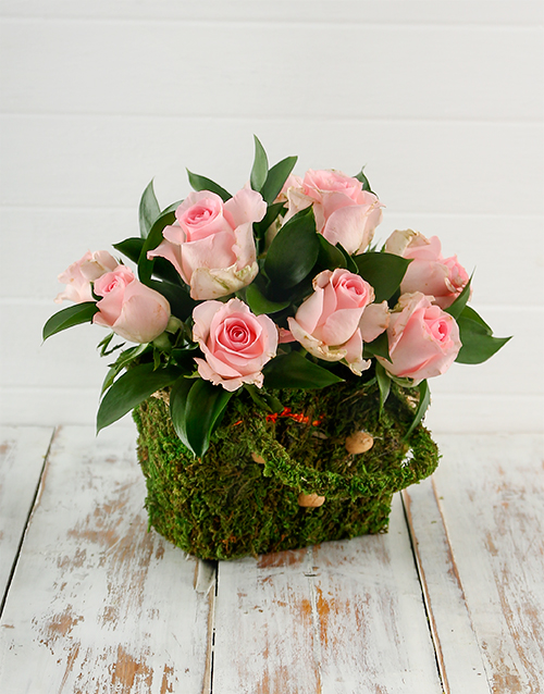 basket: Pink Roses in a Moss Basket!
