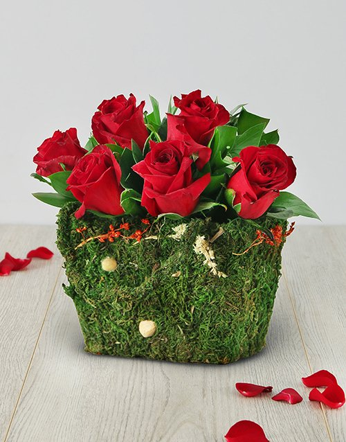 roses: Red Roses in a Moss Basket!