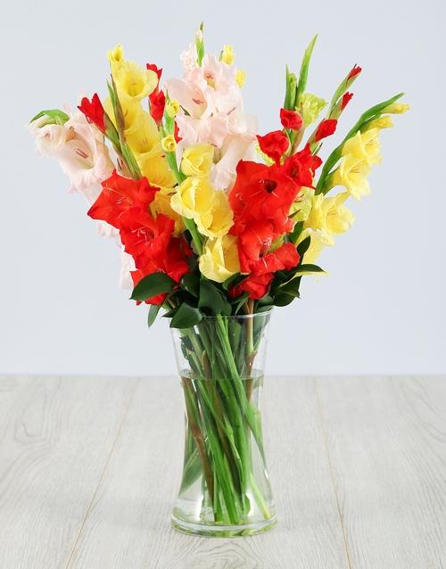 vase: Mixed Gladiolus in a Glass Vase!