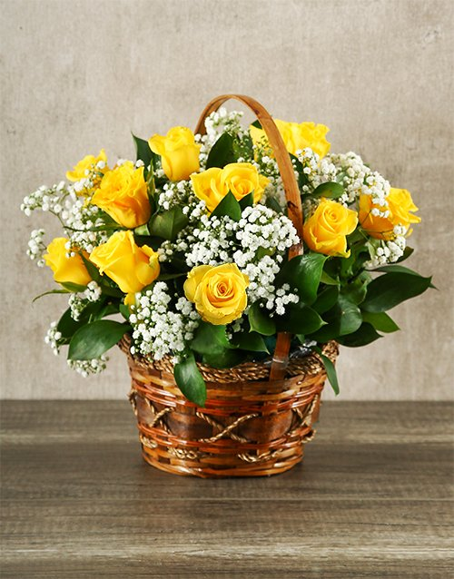 basket: Woven Basket of Yellow Roses!