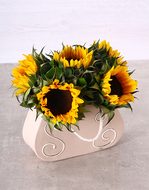 sunflowers: Sunflowers in a Ceramic Handbag!