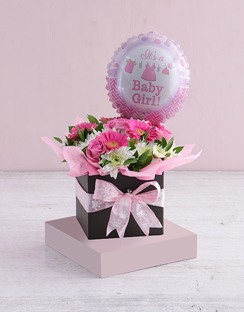baby: Baby Girl Floral Box with Balloon!