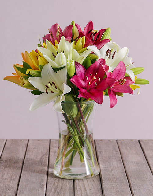 vase: Mixed Lilies in a Vase!