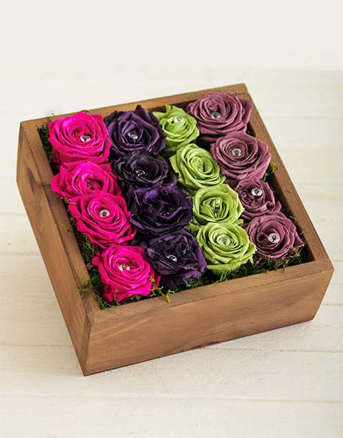 wooden-crates: Rainbow Bright Rose Box!