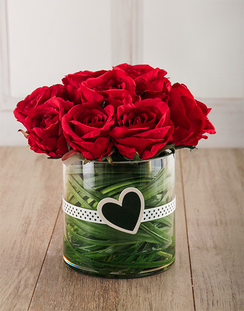 silk: Jessica Silk Red Roses in Cylinder Vase!