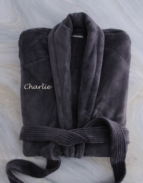 corporate: Personalised Charcoal Fleece Gown!