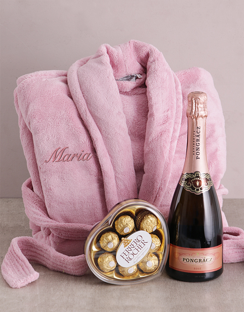 bath-and-body: Personalised Vintage Pink Fleece Gown Gift!