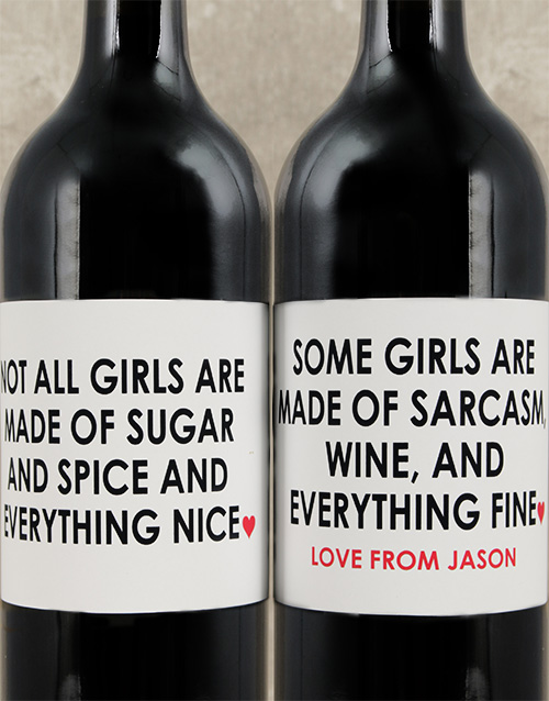 personalised: Personalised Sugar and Spice Wine Set!