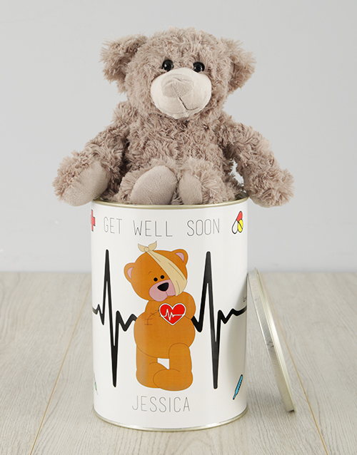 personalised: Personalised Get Well Teddy Tin!