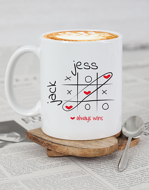 homeware: Personalised Love Always Wins Mug!