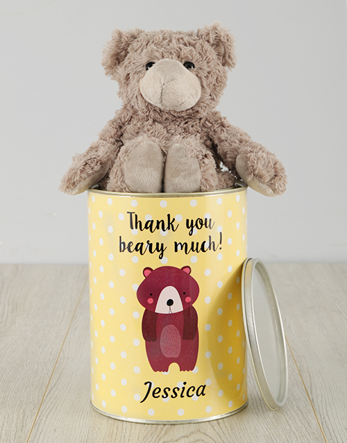 personalised: Personalised Spotted Thank You Teddy Tin!