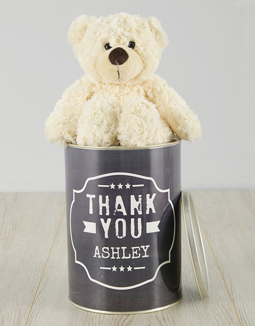personalised: Personalised Black and White Thank You Teddy Tin!