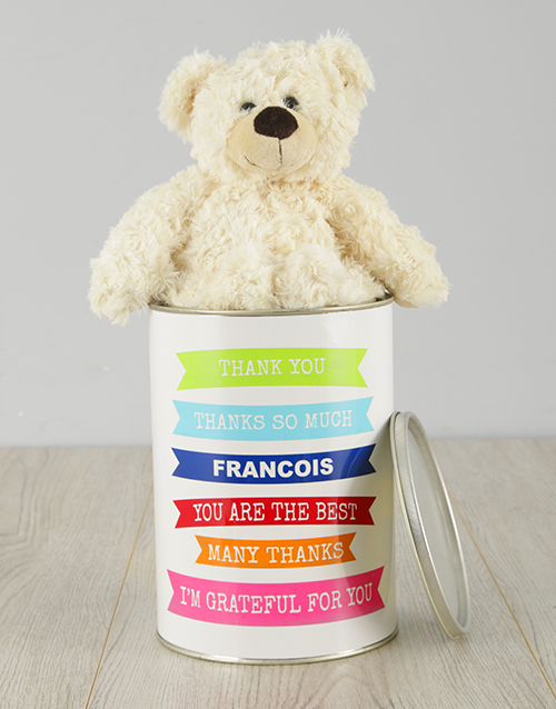 personalised: Personalised Grateful Teddy Tin!