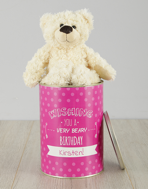 birthday: Personalised Beary Birthday Teddy Tin!