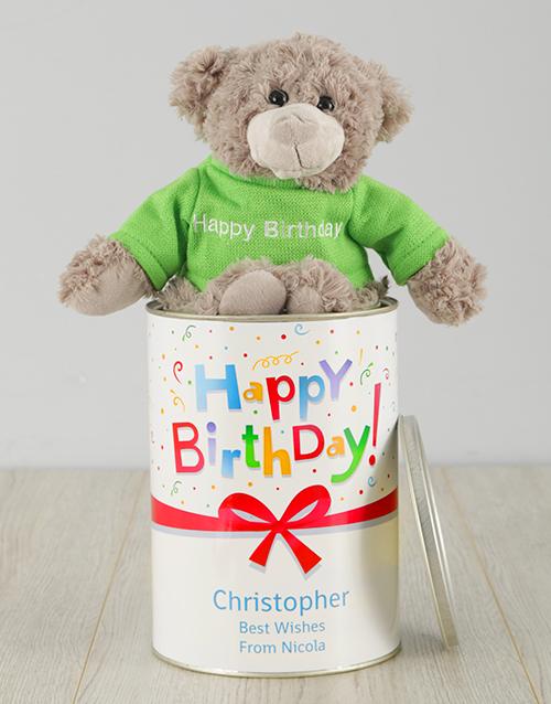 birthday: Personalised Birthday Gift Wrapped Teddy Tin!