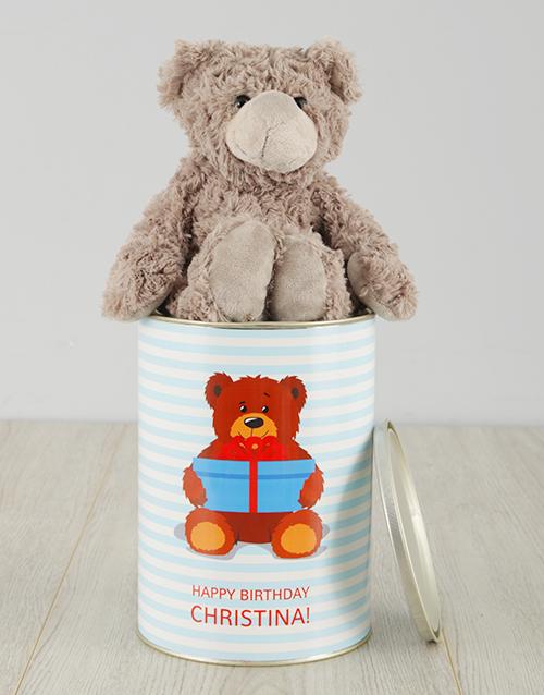 personalised: Personalised Bear Happy Birthday Teddy Tin!