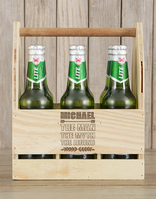 man-crates: Personalised Legend Castle Beer Caddy!