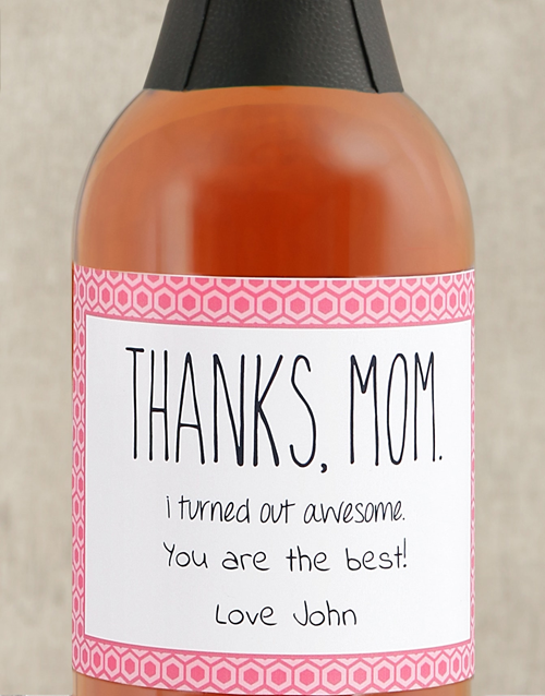 thank-you: Personalised Thanks Mom Bubbly!