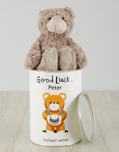 personalised: Personalised Good Luck Teddy Tin!