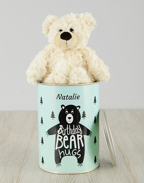 personalised: Personalised Birthday Bear Hugs Teddy Tin!