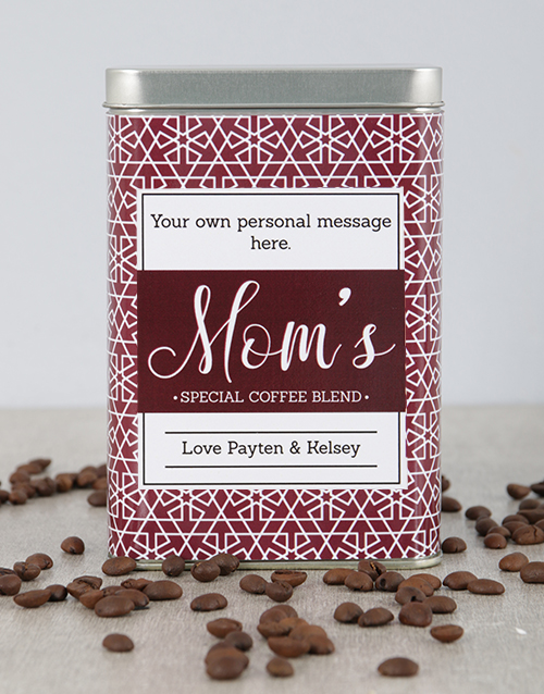 mothers-day: Personalised Red Flake Moms Blend Coffee Tin!