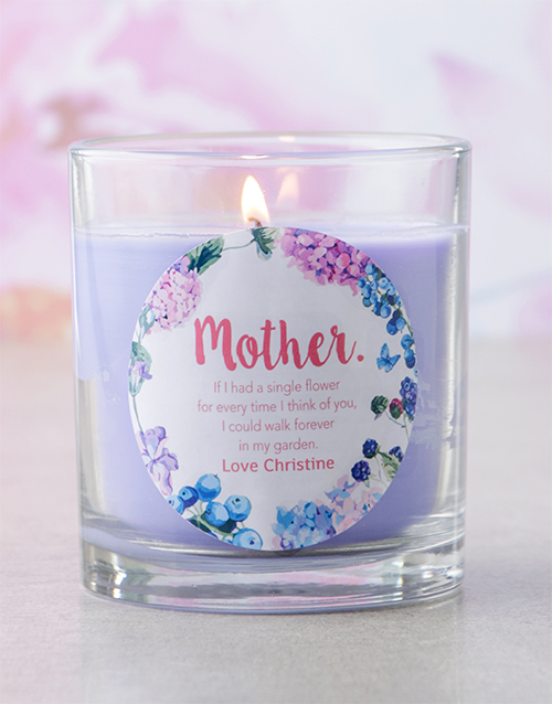 mothers-day: Personalised Purple Mother Message Candle!