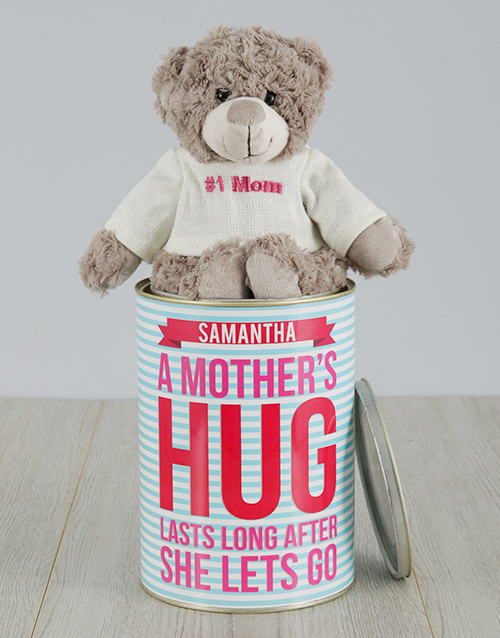 mothers-day: Personalised Mothers Hug Teddy Tin!