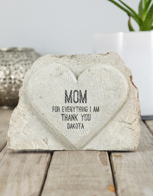 mothers-day: Personalised Thank You Mom Stone Heart!