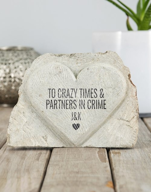 personalised: Personalised Partners in Crime Stone Heart!