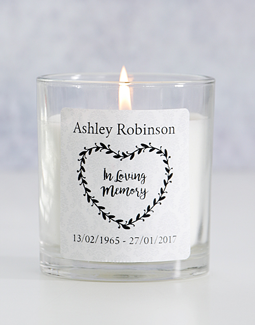 personalised: Personalised In Loving Memory Heart Wreath Candle!