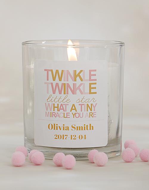 baby: Personalised Twinkle Twinkle Baby Girl Candle!