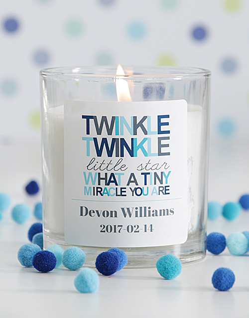 baby: Personalised Twinkle Twinkle Baby Boy Candle!
