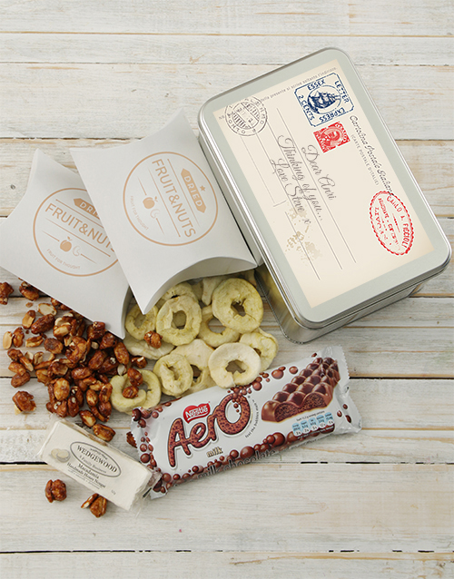 gourmet: Personalised Post Card Snack Tin!