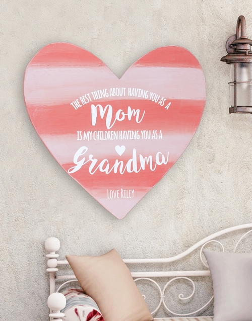 home-decor: Personalised Mom and Grandma Wooden Heart!