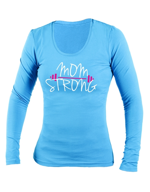 clothing: Personalised Blue Mom Strong Longsleeve T Shirt!