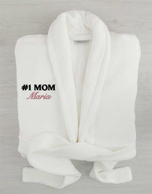 mothers-day: Personalised Number 1 Mom White Fleece Gown!