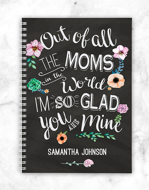 mothers-day: Personalised Glad You Are Mine Notebook!