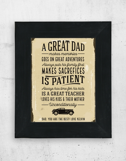 home-decor: Personalised Great Dad Artwork in Black Frame!