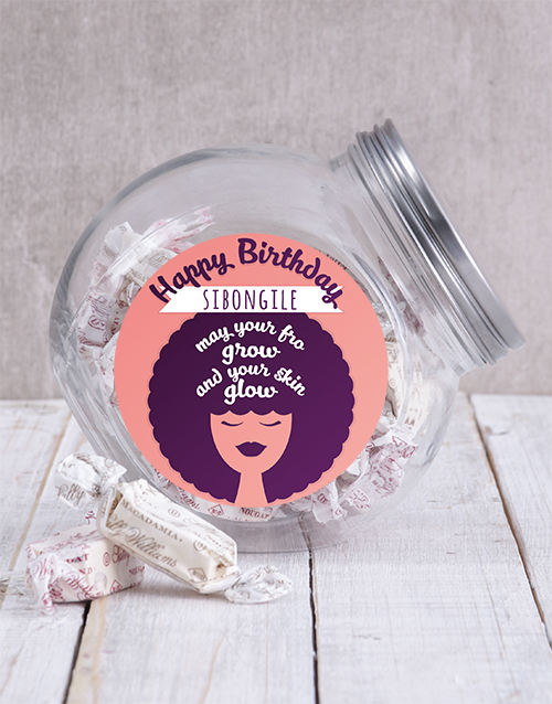 chocolate: Personalised Happy Birthday Fro Candy Jar!
