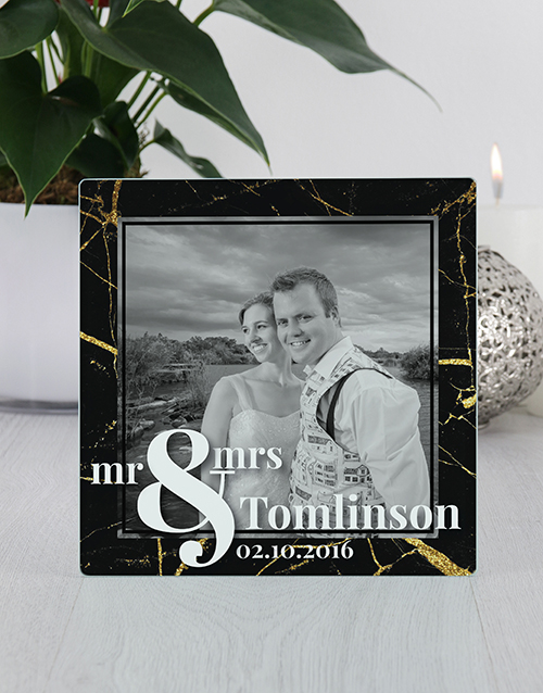 personalised: Personalised Mr and Mrs Glass Tile Photo Frame!