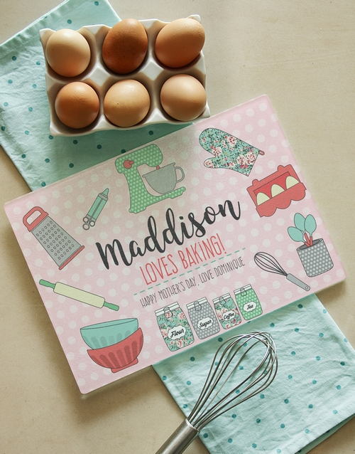 personalised: Personalised Loves Baking Glass Chopping Board!