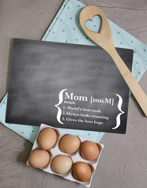 mothers-day: Personalised Mom Definition Glass Chopping Board!