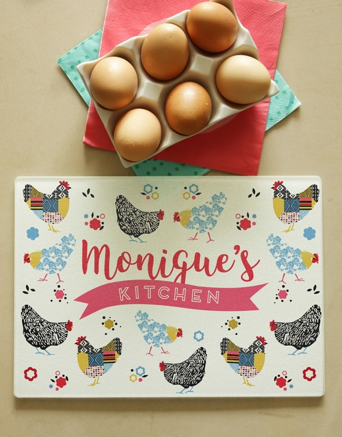 personalised: Personalised Checkered Chicks Glass Chopping Board!