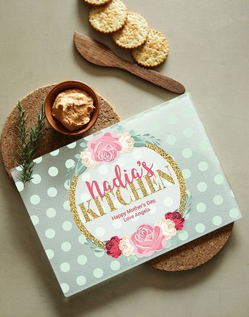mothers-day: Personalised Floral Kitchen Glass Chopping Board!